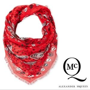 ALEXANDER McQUEEN Red Silk Skull Scarf - NEW